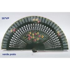 Hand fan in wood green prato and cotton with designs floral patterns.