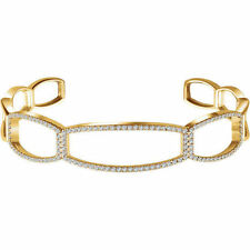 "Diamond Cuff 6 1/4"" Bracelet In 14K Yellow Gold (3/4 ct. tw"