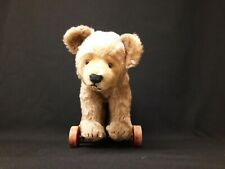 Vintage Steiff Teddy Bear on Wooden Wheels