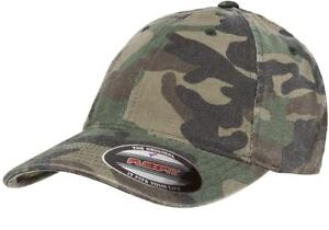 Flexfit Garment Washed Camo Fitted Flex Fit Cap 6977CA Camouflage Baseball Hat