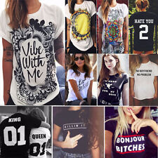 Womens Summer Short Sleeve Casual Print T-shirt Letter Graphic Tee Tops Blouse N