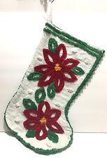 Vintage Chenille Stocking Two Poinsettias Stripes Red White Green Yellow Wide