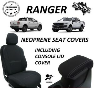 FORD RANGER PX1 FRONT & REAR NEOPRENE SEAT COVERS FULL COVERAGE- MAP POCKETS X 4