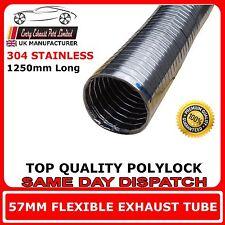 """57mm 2 """" 1/4 Universel Réparation Tube D'échappement Flexible Polylock Acier Inoxydable 1,25 m"""