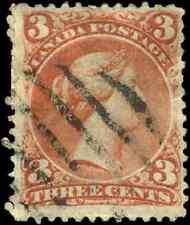 Canada #25 used F HHR 1868 Queen Victoria 3c red Large Queen CV$20.00