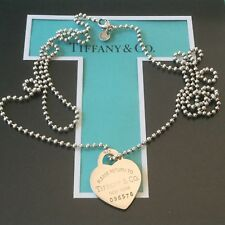 "Tiffany & Co. Key Heart XLong 34""  Heart Tag Chain Necklace Dog Tag Large"