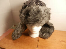 Black  Trapper Hat furry ear flaps Beanie with strap from Hot Topic
