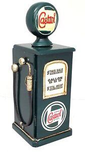 Retro Petrol Pump Wooden Cabinet Storage CD DVD Green Castrol Art Deco Chic