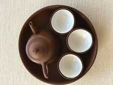 Chinese Yixing Zisha ? tiny brown tea set with 6 cups and tray