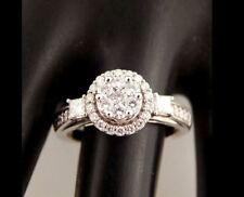 14K Illusion Halo Cluster Diamond Engagement Ring White Gold