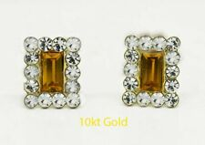YELLOW TOPAZ 1.54 Cts & WHITE SAPPHIRES STUD EARRINGS 10K GOLD * New With Tag