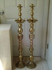 """ANGLO INDIAN HOLLYWOOD REGENCY EXOTIC  BRASS FLOOR CANDLESTICKS PRICKETS 44"""""""