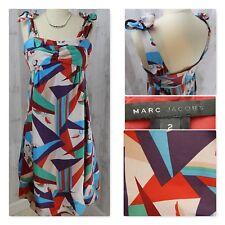 Designer MARC JACOBS Silk DRESS~Sexy Cocktail Evening Graphic Print Pockets 2/S