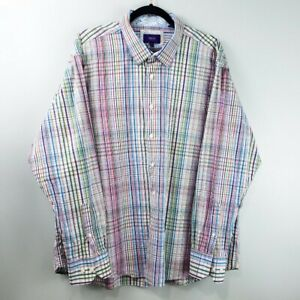 TALLIA Mens Button Up Shirt Long Sleeve Check Multi Colored Flip Cuff XXL 18 1/2