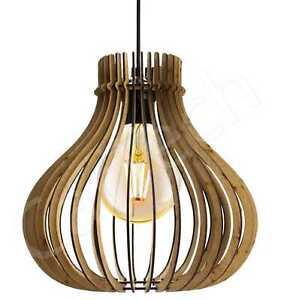 MODERN WOODEN CEILING LIGHT LAMP SHADE WOODEN SLATS