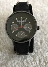VINTAGE TIMBERLAND LADIES WATCH Black Leather Band DAY/DATE