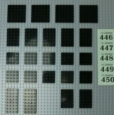 LEGO black plates 4x4,4x6,4x8 6x6,6x8 - VGC #446-50