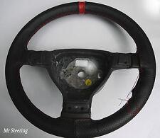 Se adapta a Honda Jazz 04-12 Negro De Cuero Perforado + Rojo Correa cubierta del volante