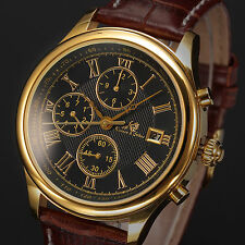 Kronen&Söhne Brown Leather Band Day & Date Mens Automatic Mechanical Wrist Watch