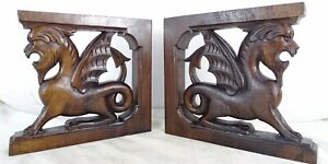 Antique French Pair Small Gothic Dragon Griffin Wood Carved Cabinet Support
