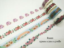 Japan Washi Tape 4 Rolls Roses Greens Flemino Unicorns Oceans