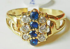 Sapphire Round Yellow Gold 14 Carat Fine Rings