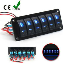 6 Gang Rocker Switches + Panel Blue LED 12V~24V Breakers FOR ALL BOAT/CAR /TRUCK