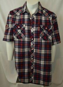 Men's Swiss Cross Blue Plaid Short Sleeve Sleeve Dress Shirt - New (3XL) NWOT