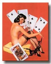 "RETRO PINUP GIRL CANVAS PRINT 24X16"" Vintage  Poster Gil Elvgren Strip Poker"