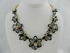 "Anne Klein Gold-Tone Floral Crystal 17"" Statement Necklace"
