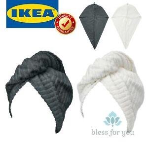 IKEA TRATTEN Hair Towel Wrap Dark Gray White 100% Cotton 2 Pack