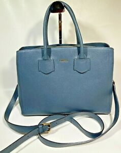 Furla Alba Tote Bag in Dark Blue Grain Leather w Gold Hardware (Authentic)