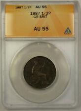 1887 Great Britain 1/2 Penny Copper Coin Queen Victoria ANACS AU 55