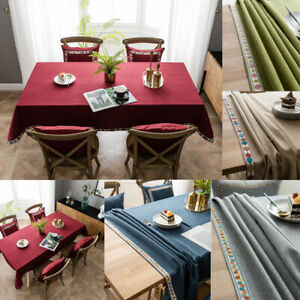 Rectangle Tablecloth Solid Color Wedding Party Dining Kitchen Table Cloth Decor