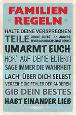 Familienregeln - Habt einander lieb Blechschild 20x30 cm PC 300/434 blau