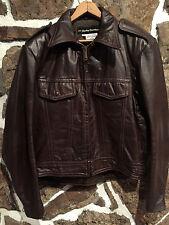 Vintage AMF HARLEY DAVIDSON Brown Leather Motorcycle Biker Jacket sz 42