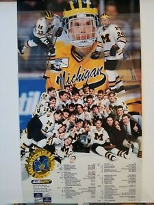 "Rare Michigan wolverines 1994 1995 NCAA Hockey Schedule Poster 13.5"" x 23.5"""