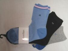 BNWT CALVIN KLEIN  Cotton Blend  Ladies Ankle Socks  - 3 Pairs  Blue Black Grey