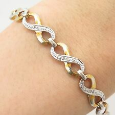 "925 Sterling Silver 2 Tone Real Diamond Infinity Link Bracelet 7.5"""