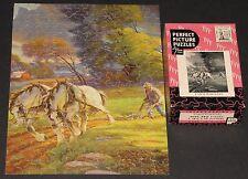 "Vtg Perfect Picture Jigsaw Puzzle ""Farm Workers"" Draft Horses Plow War Bond Cib"