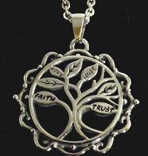 Tree of Life Pendant Stainless Steel w/ Hope Faith Love & Trust Engraved Leaves