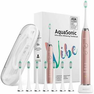 AquaSonic VIBE series Ultra Whitening Electric Toothbrush Bundle - Pink