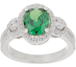 Diamonique Simulated Emerald Gemstone Halo Ring, Sterling Silver Size 6