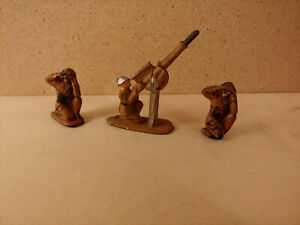 Vintage Auburn Rubber WWI Toy Soldier Lot Anti Aircraft Gunner and More!