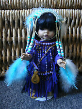 """One of a Kind  Hand Beaded Native American Girl With Headress Doll - 14"""" -"""