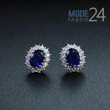 Damen Ohrringe Ohrstecker echt 925 Sterling Silber Zirkonia Stein 0,56Karat Blau