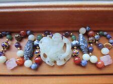 VTG Chinese Hand Carved 3D BuddhaFish Pendant Cloisonne Shou Stone Bead Necklace