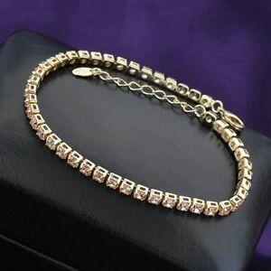14K Rose Gold filled MADE WITH SWAROVSKI CRYSTALS Tennis bracelet Birthday Gift