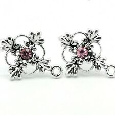 4 pairs Flower Ear Studs ear Posts with Rhinestone earrings earstuds