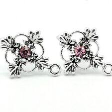 Pack of 10 Flower Ear Studs ear Posts with Pink Rhinestone earrings earstuds